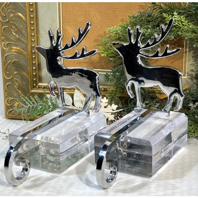 Silver Vintage Stocking Hangers Christmas Reindeer Silver Long Handle Pair For Sale - Image 8 of 10