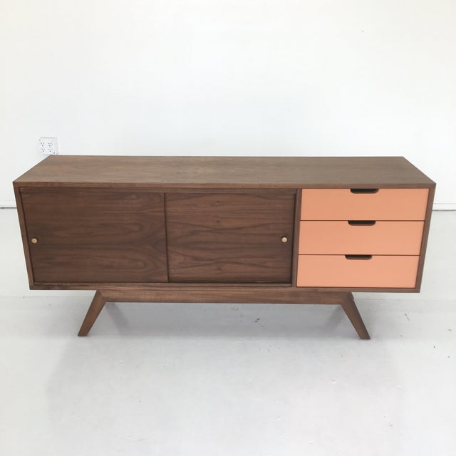 Mid Century Modern Custom Credenza on hand carved buffet, dining room buffet sideboard, antique french sideboard, french style sideboard, pine sideboard, pennsylvania house sideboard, hand painted vintage sideboard cabinet oriental,