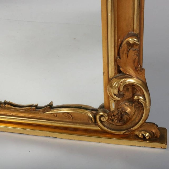 Monumental Antique French Marie Antoinette Pierced Giltwood Over Mantel Mirror For Sale - Image 6 of 11
