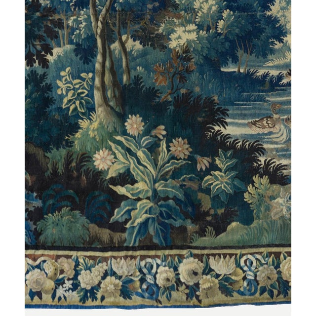 17th Century Antique Square 17th Century Flemish Verdure Landscape with Birds Tapestry For Sale - Image 5 of 10