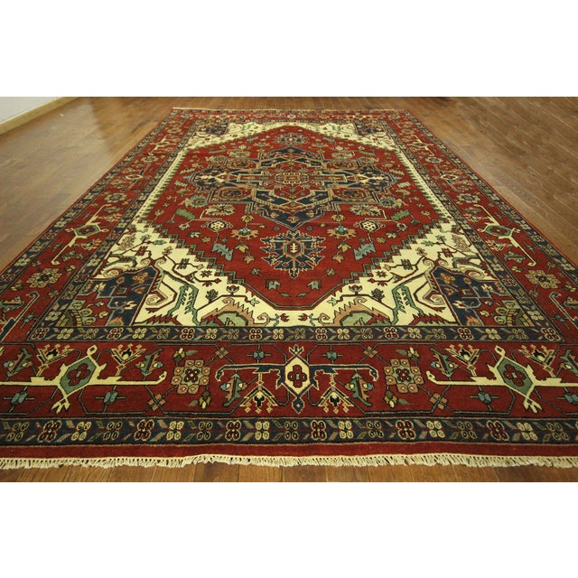 Heriz Oriental Hand Knotted Area Rug - 9'10 x 14' - Image 3 of 10
