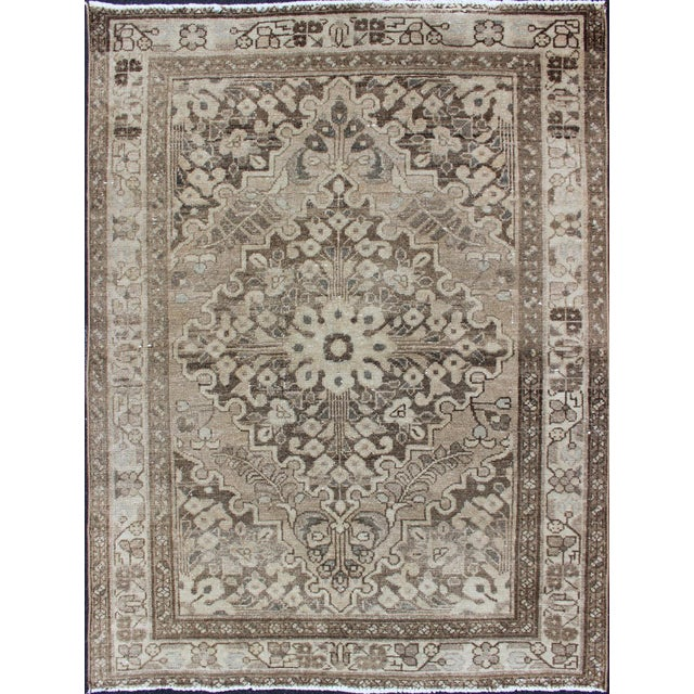 Neutral Tone Vintage Persian Lilihan Rug With Medallion For Sale - Image 13 of 13