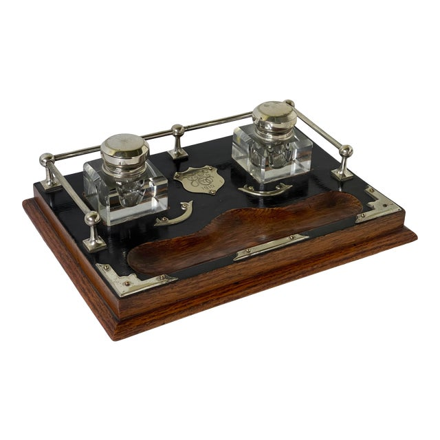 Antique English Double Inkwell Desk Set For Sale