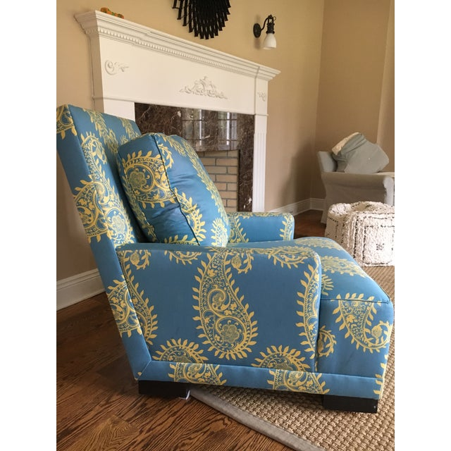 Blue Paisley Silk Upholstered Club Chair - Image 3 of 4
