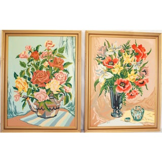 Paint by Number Still Life with Flowers - A Pair For Sale