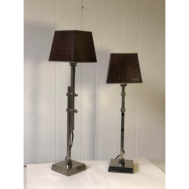 Pair of Adjustable Height Chrome Lamps With Leather Shades For Sale In Atlanta - Image 6 of 13