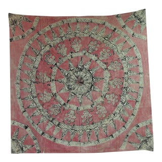 Antique Pink and Black Linen Hand Printed Indian Cloth For Sale