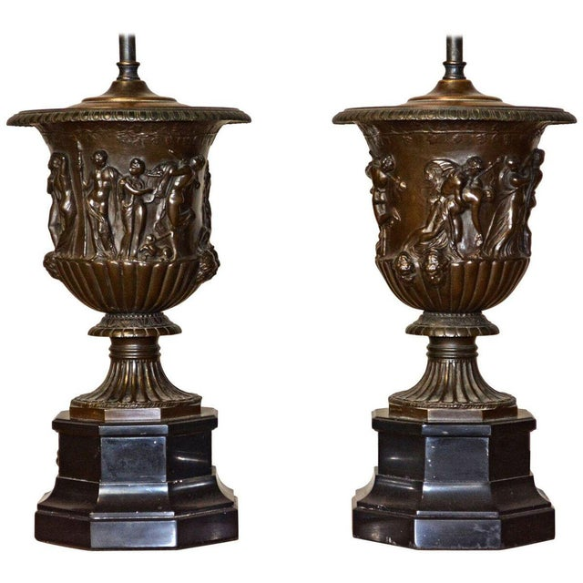 Mid 19th Century Pair of Barbedienne Bronze Medici Urn Lamps For Sale - Image 5 of 7