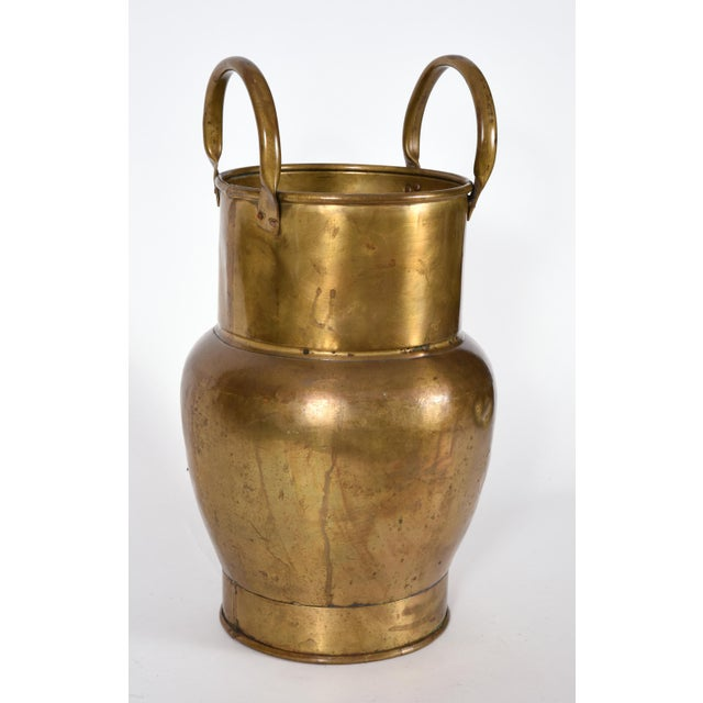 Gold Mid-20th Century Indoor / Outdoor Brass Umbrella Stand For Sale - Image 8 of 10