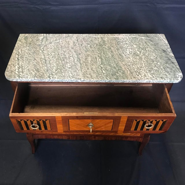 1940s Vintage French Louis XVI Style Marquetry Inlaid Petite Commode For Sale - Image 12 of 13