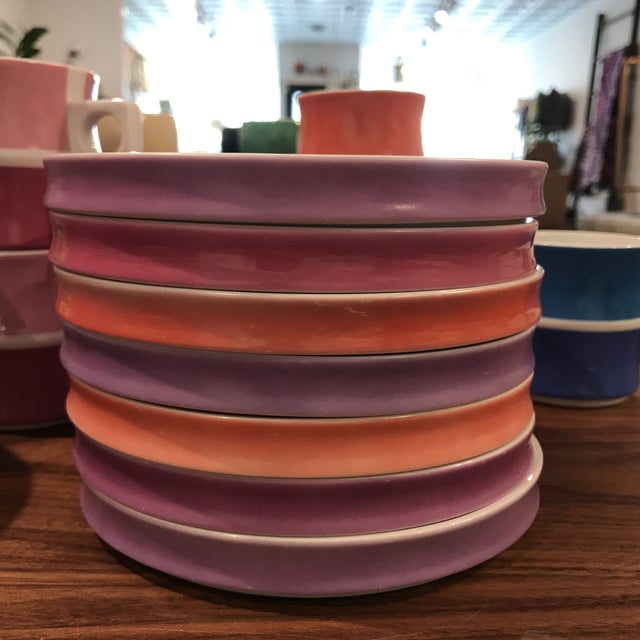 Pink Vintage Block Chromatics Porcelain Dinnerware From Germany - Set of 50 For Sale - Image 8 of 13