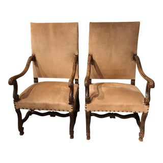 Vintage Bergere Arm Chairs- A Pair For Sale