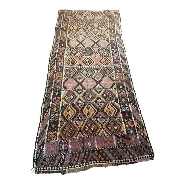 Antique Earth Tones Kilim Rug - 4′ × 9′ For Sale