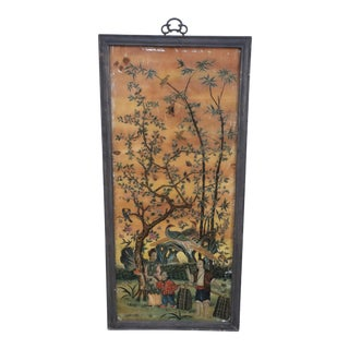 Framed Chinese Glass Back Painted Scene of a Family Gathering Fruit Beneath a Tree For Sale