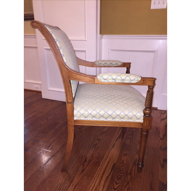Beige & Blue Occasional Armchairs - A Pair - Image 4 of 6