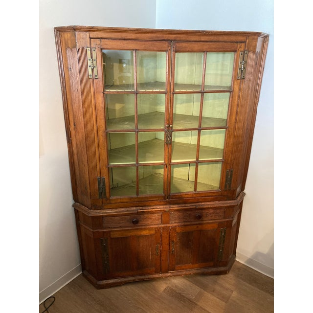 Brown Pine Corner Cabinet With Wavy Original Glass For Sale - Image 8 of 8