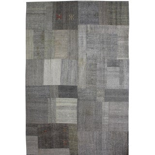 """Hand Knotted Patchwork Kilim - 12'3"""" x 8'2"""" For Sale"""