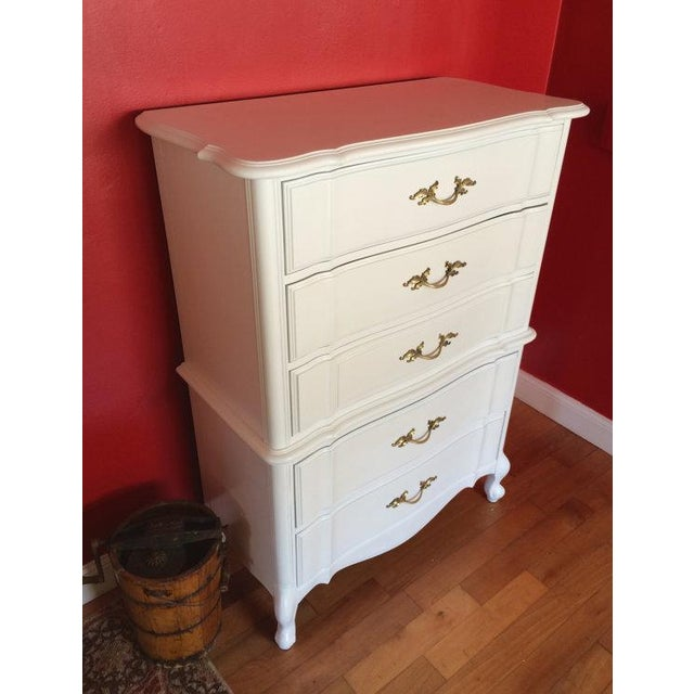 Stanley French Provincial Solid Wood Tallboy Dresser - Image 5 of 6
