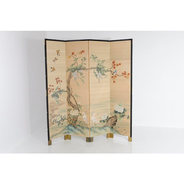 Japanese Four-Panel Floor Silk Screen Landscape With Herons, Circa 1920s For Sale - Image 13 of 13