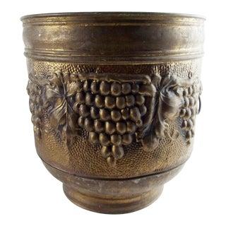1930s Vintage Brass Grapes Lion Head Repousse Planter For Sale