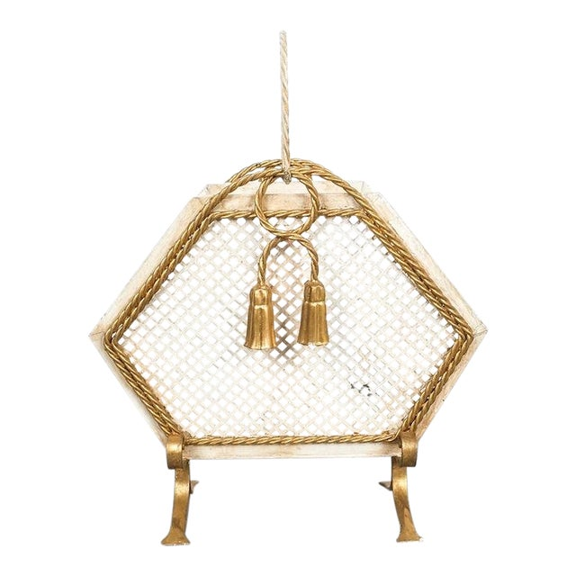 Wrought Iron Magazine Rack Gold White, Germany, Circa 1955 For Sale