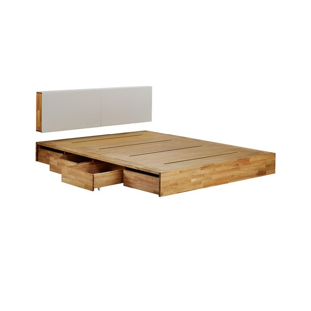 Platform Bed Queen with Storage Drawers and Solid Wood Hung Storage Headboard - 2 Pieces For Sale - Image 10 of 10