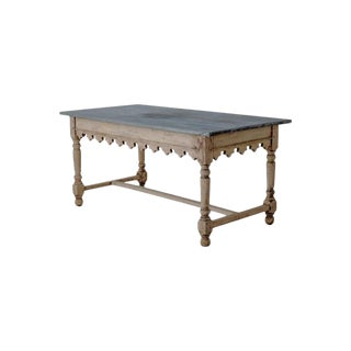 19th Century French Table De Boucherie in Bleached Walnut With Original Zinc Top
