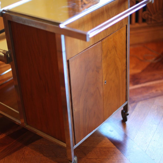 Metal Dry Bar Service Cart by Jacques Adnet For Sale - Image 7 of 10