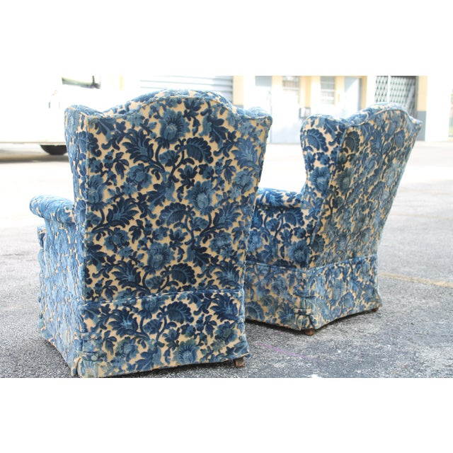 Cut Crushed Velvet Wingback Chairs - A Pair For Sale In Miami - Image 6 of 10