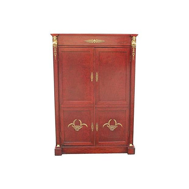 Neoclassical 1920s Red Armoire - Image 1 of 7