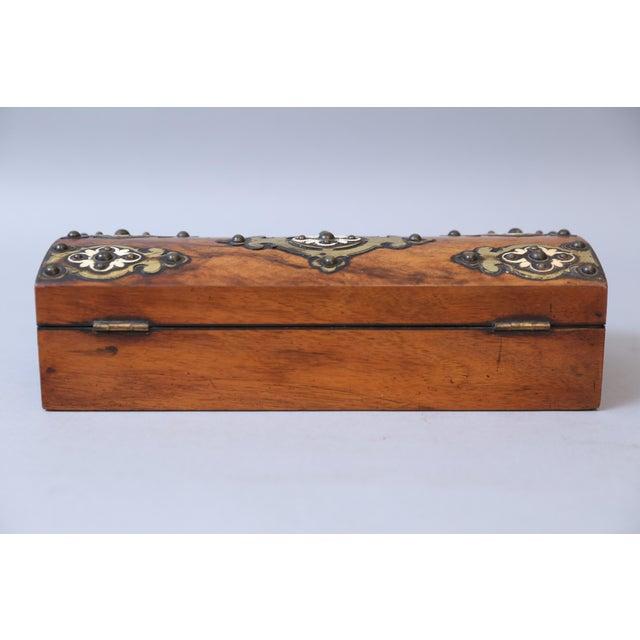 19th C. Brass & Bone Mounts Walnut Box - Image 4 of 7
