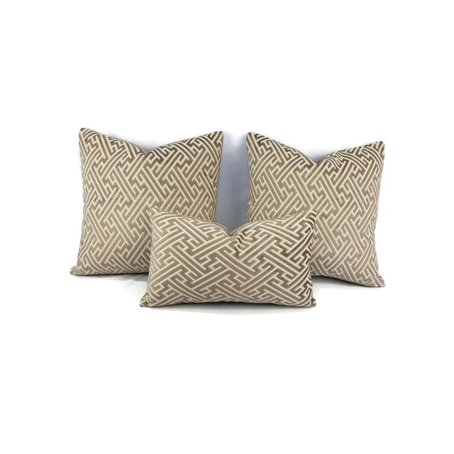 "Not Yet Made - Made To Order Holly Hunt in Labyrinth Field Stone - Gray and White Geometric Fretwork Velvet Pillow Cover 20"" X 20"" For Sale - Image 5 of 6"
