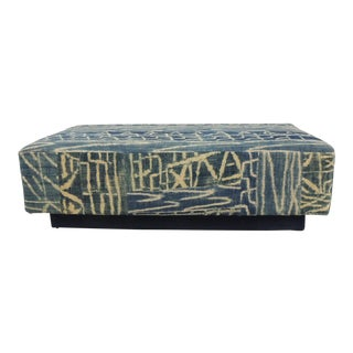 Large African Blue and Natural Vintage Ndop Textile Upholstered Ottoman