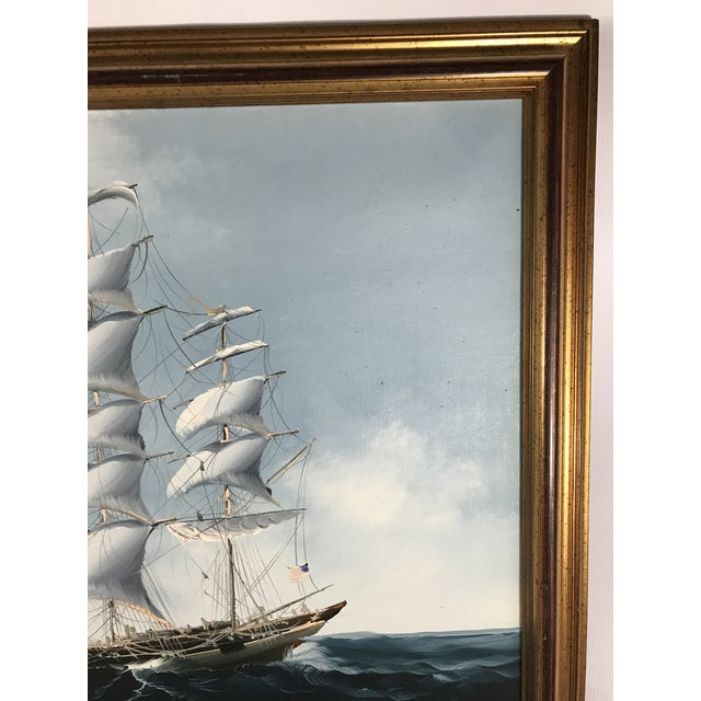 Mid 20th Century Large Sailing Ship Painting For Sale - Image 5 of 13