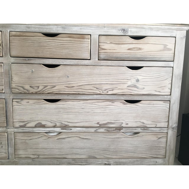 Custom White Washed Pine 10-Drawer Dresser - Image 7 of 11