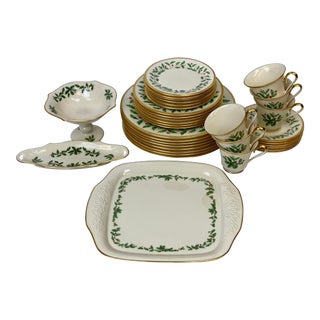 Late 20th Century Lenox Gold-Rimmed Holiday Dinnerware & Serveware Set - Set of 65 For Sale