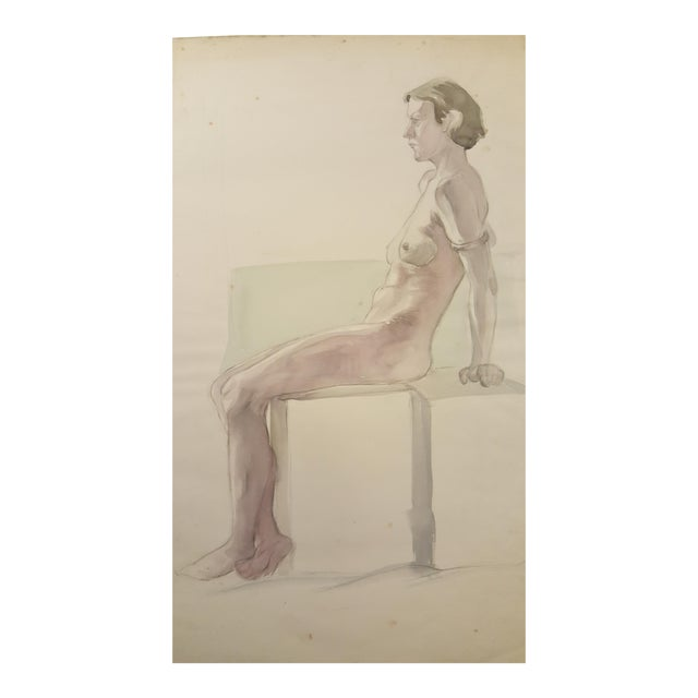 Watercolor of Female Nude By Eileen Churm For Sale