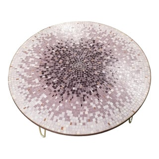 "46"" Berthold Müller Style Glass Mosaic Coffee Table With Brass Hairpin Legs For Sale"