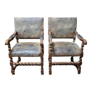Pair of English Oak Carved Arm Chairs W/ Leather Upholstery C.1910 For Sale