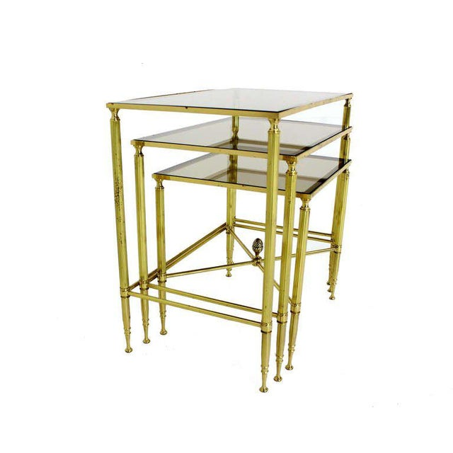 Solid Brass Smoked Glass Set of Three Nesting Stacking Tables For Sale In New York - Image 6 of 6