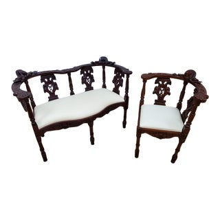 Victorian Ornate Carved Bench and Ornate Corner Chair - 2 Piece Set For Sale