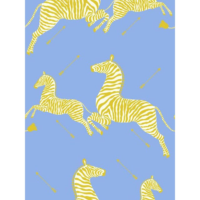 Primitive Scalamandre Zebras, Periwinkle Wallpaper For Sale - Image 3 of 3