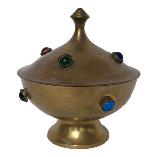 Brass and Glass Cabochon Lidded Genie Box For Sale