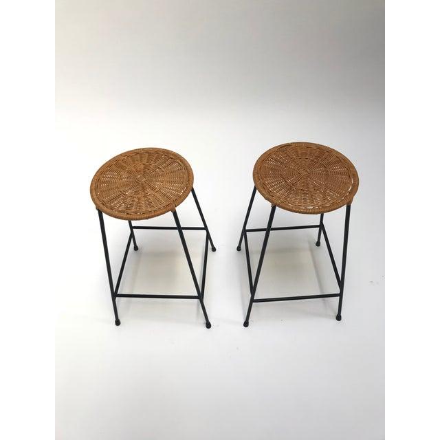 Vintage Arthur Umanoff metal frame counter stools - a Pair - Image 2 of 11