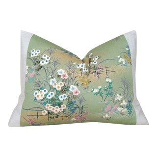 Spring Garden Vintage Japanese Silk Kimono Pillow Cover For Sale