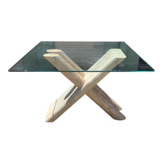 Tessellated Marble X Base Tubular Table For Sale