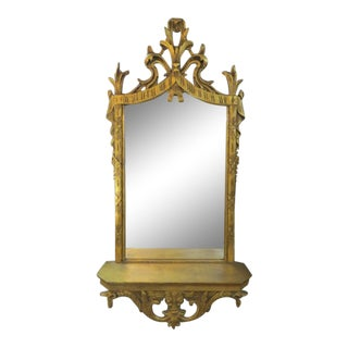 1940 Vintage Gold Faux Carved Wood Mirror With Shelf For Sale