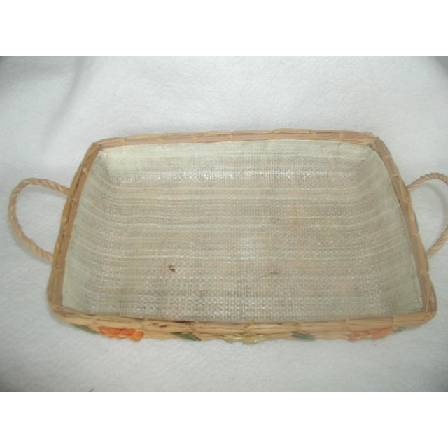 Decorative Rattan Serving Carrier For Sale - Image 4 of 6