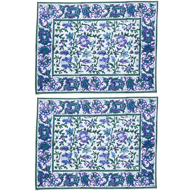 Aria Placemats Lavender & Blue - A Pair For Sale - Image 4 of 4