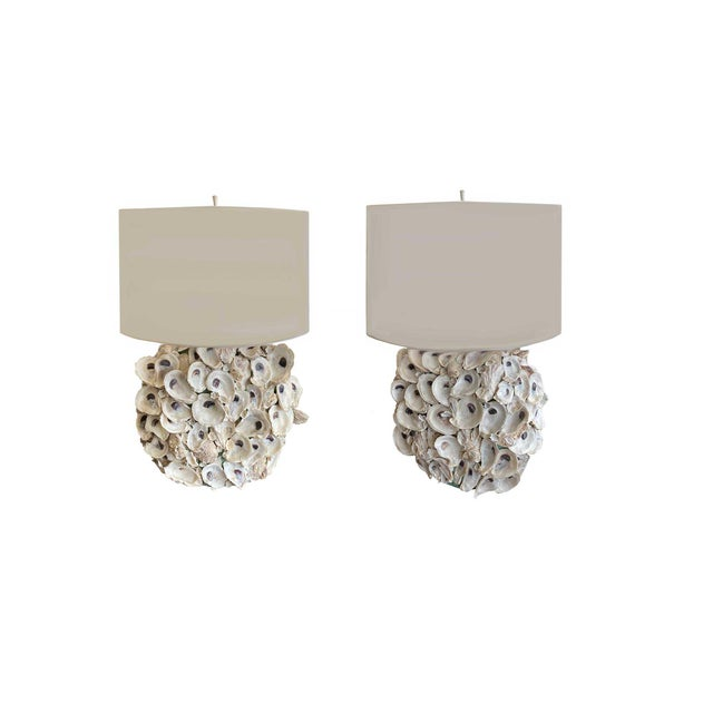 Shell Oyster Shell Lamps with Custom Shades - a Pair For Sale - Image 7 of 7